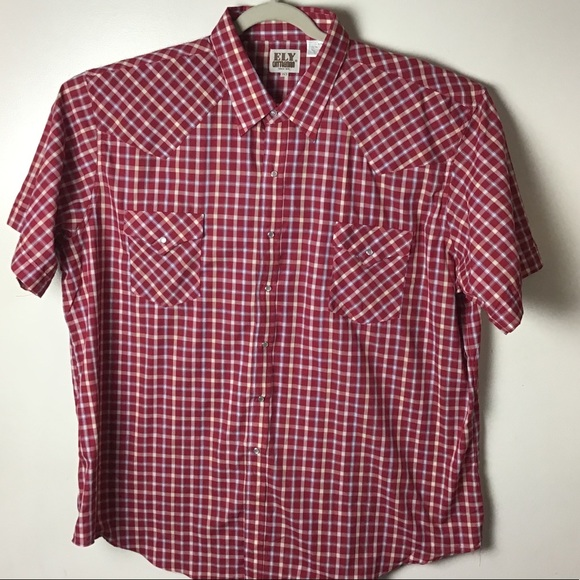 Ely Cattleman red plaid pearl snap shirt. 3XL